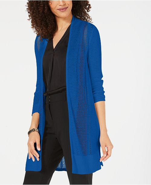 Alfani Long Mixed-Stitch Completer Cardigan, Created for Macy's