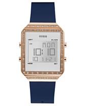 c01d52e669 GUESS Women's Digital Mini Flare Blue Silicone Strap Watch 35x47.5mm
