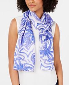 Echo Sketched Flower-Print Silk Oblong Scarf