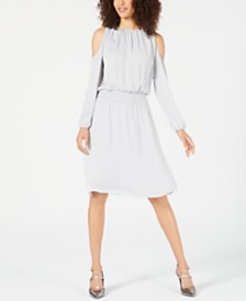 Alfani Smocked Cold-Shoulder Dress, Created for Macy's