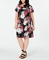b5ec66f83db Robbie Bee Plus Size Printed Faux-Wrap Dress