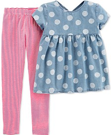 Carter's Little & Big Girls 2-Pc. Chambray Tunic & Striped Leggings Set