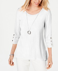 JM Collection Petite Textured Necklace Top, Created for Macy's