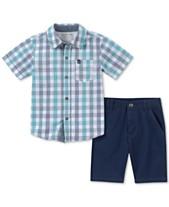 1b8fe32ed Calvin Klein Baby Boys 2-Pc. Cotton Plaid Shirt & Shorts Set