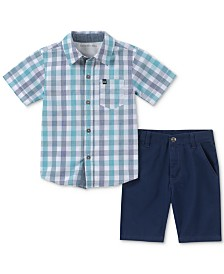 Calvin Klein Baby Boys 2-Pc. Cotton Plaid Shirt & Shorts Set