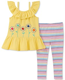 Kids Headquarters Baby Girls 2-Pc. Floral-Print Tunic & Rainbow Striped Leggings Set