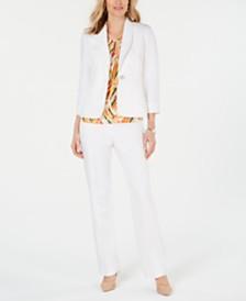 Kasper One-Button Shawl-Collar Blazer, Printed Top & Classic Pants