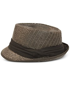 Sean John Men's Stripe Texture Pleated Solid Band Fedora, Created for Macy's