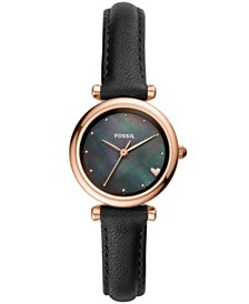 Fossil Women's mini carlie rose tone black leather strap