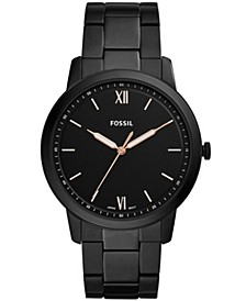 Men's Minimalist Black Stainless Steel Bracelet Watch 44mm