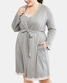 Plus Size Nursing Nightgown & Robe