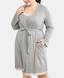 Motherhood Maternity Plus Size Nursing Nightgown & Robe