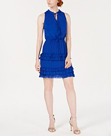 Ruffled Tie-Neck Shift Dress