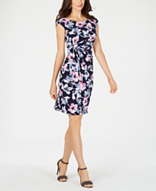 Connected Petite Floral Draped Dress