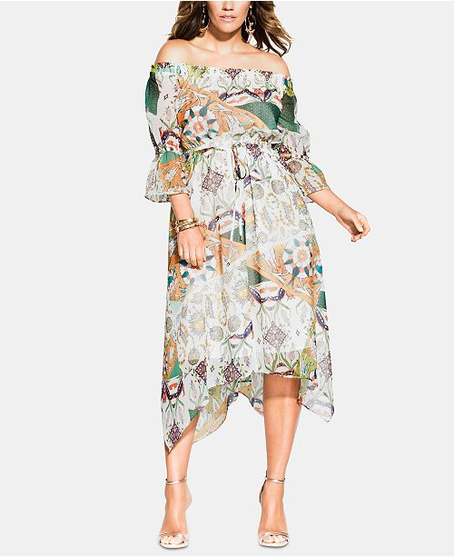 City Chic Trendy Plus Size Bilbao Off-The-Shoulder Dress