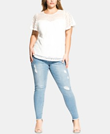 City Chic Trendy Plus Size Serenity Short-Sleeve Top