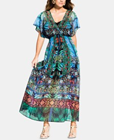 City Chic Trendy Plus Size Tangier Printed Maxi Dress