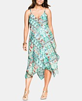 af2014094381 City Chic Trendy Plus Size Airy Palermo Handkerchief-Hem Dress