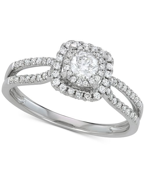 Macy's Diamond Halo Engagement Ring (7/8 ct. t.w.) in 14k White Gold