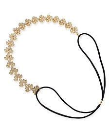 I.N.C. Gold-Tone Crystal Stretch Headband, Created for Macy's