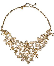 "I.N.C. Gold-Tone Crystal & Imitation Pearl Vine Statement Necklace, 18"" + 3"" extender, Created for Macy's"