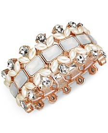 I.N.C. Rose Gold-Tone Crystal, Stone & Imitation Pearl Stretch Bracelet, Created for Macy's