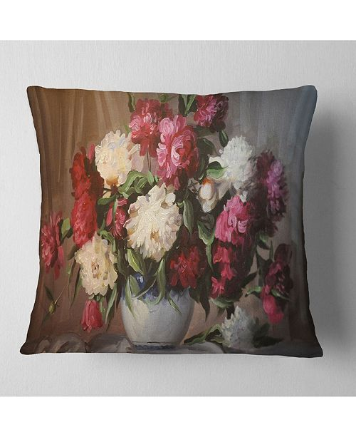 "Design Art Designart 'Bouquet of Blooming Peonies' Floral Throw Pillow - 16"" x 16"""