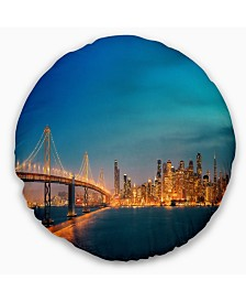 "Designart 'San Francisco Skyline At Night' Cityscape Throw Pillow - 16"" Round"