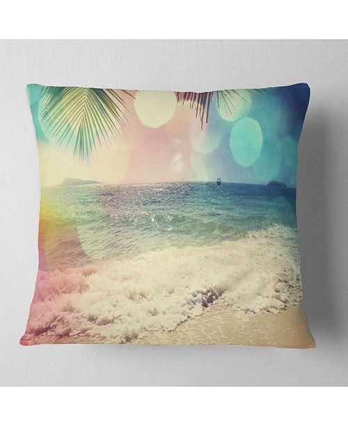 "Design Art Designart 'Colorful Serenity Tropical Beach' Seashore Throw Pillow - 16"" x 16"""