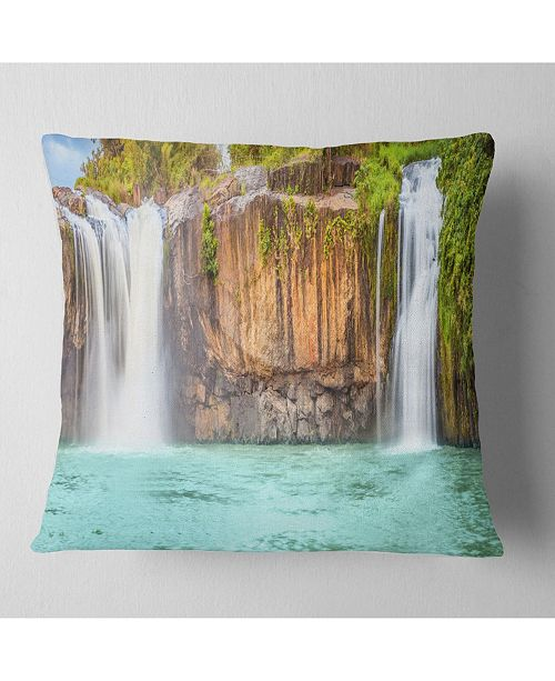 "Design Art Designart 'Dry Sap Waterfall' Photography Throw Pillow - 16"" x 16"""
