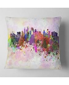 "Designart 'Kansas City Skyline' Cityscape Throw Pillow - 16"" x 16"""