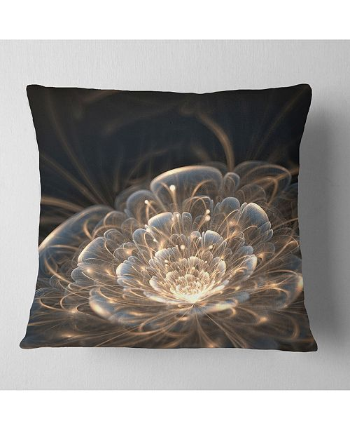 "Design Art Designart 'Fractal Flower With Golden Rays' Floral Throw Pillow - 16"" x 16"""