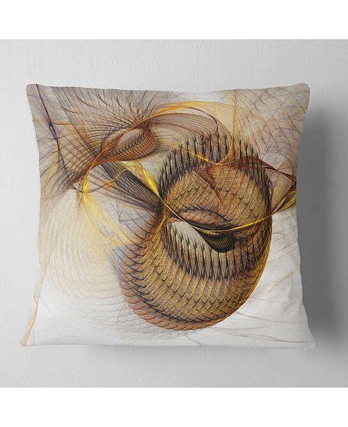 """Design Art Designart 'Abstract Brown Spiral Texture' Abstract Throw Pillow - 16"""" x 16"""""""