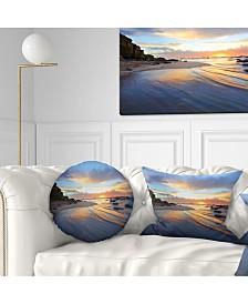 """Designart 'Exotic Seashore Sunrise Australia' Seascape Throw Pillow - 20"""" Round"""