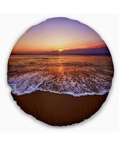 Design Art Designart Orange Tinged Sea Waters At Sunset Beach Photo Throw Pillow 20 Round Reviews Decorative Throw Pillows Bed Bath Macy S