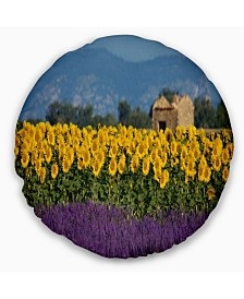 "Designart 'Lavender and Sunflower In Provence' Floral Throw Pillow - 20"" Round"