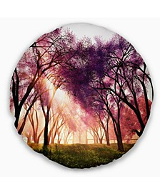 "Designart 'Cherry Blossoms Japan Garden' Landscape Printed Throw Pillow - 16"" Round"