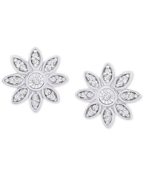 1d5a9bd1e ... Macy's Diamond Flower Stud Earrings (1/10 ct. t.w.) in Sterling Silver  ...
