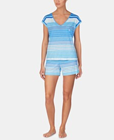 Lauren Ralph Lauren Stripe-Print Cotton Short-Sleeve Top and Pajama Shorts Set