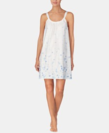 Lauren Ralph Lauren Printed Ruched Satin Nightgown