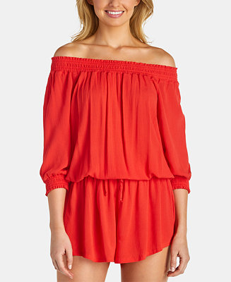 Juniors' Off The Shoulder Romper Cover Up by General