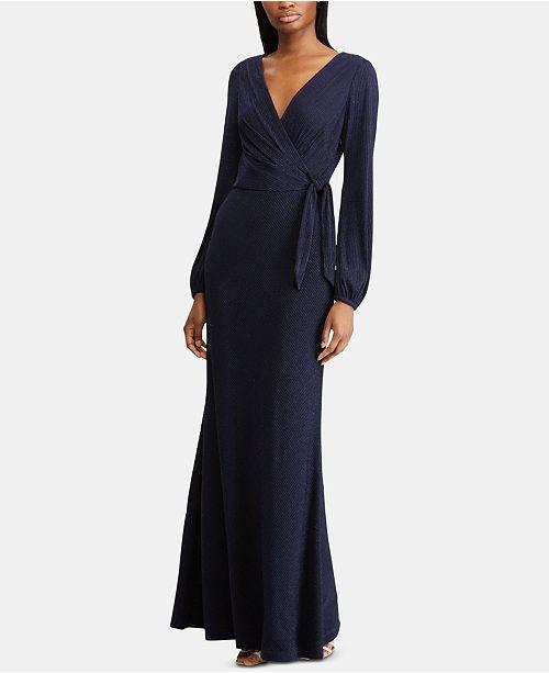 Lauren Ralph Lauren Metallic Surplice Gown