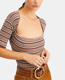 Free People Striped Wild Tee