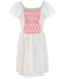 Epic Threads Little Girls Embroidered Dot Mesh Dress, Created for Macy's