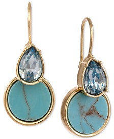 Laundry by Shelli Segal Gold-Tone Crystal & Turquoise-Look Drop Earrings