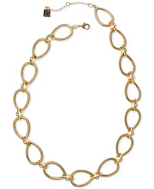 "Laundry by Shelli Segal Gold-Tone Crystal Open Teardrop Link Necklace, 16"" + 2"" extender"