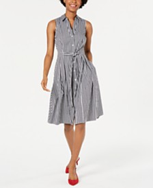 Maison Jules Sleeveless Gingham Fit & Flare Dress, Created for Macy's