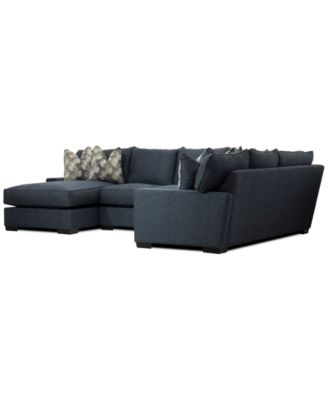 Tuni 3-Pc. Fabric Chaise Sectional Sofa with 2 Cushion Armless Loveseat, Created for Macy's