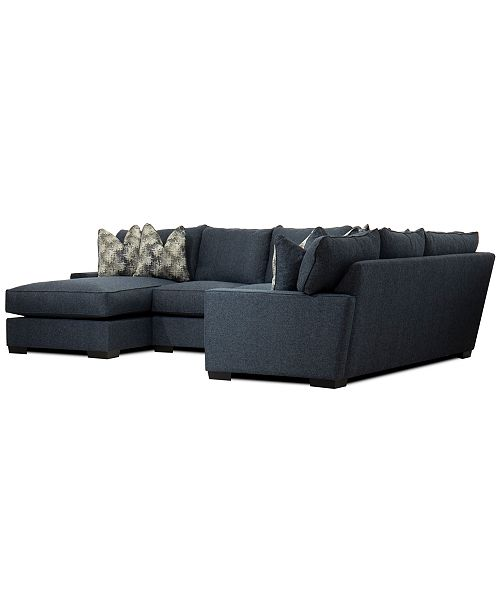 Tuni 3 Pc Fabric Chaise Sectional Sofa