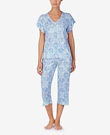 Lauren Ralph Lauren Flutter-Sleeve Top and Capri Pants Cotton Knit Pajama Set